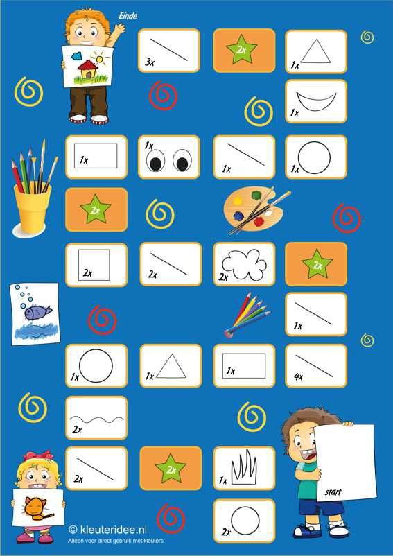 Het knappe kunstenaarsspel voor kleuters, A3, Thema kunst, kleuteridee.nl , The handsome artists game for preschool, With English & Dutch gamerules free printable.