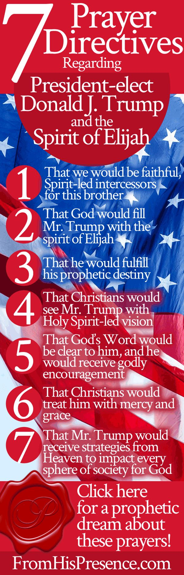 Prophetic prayer directives for President-elect Donald J. Trump and the spirit of Elijah.
