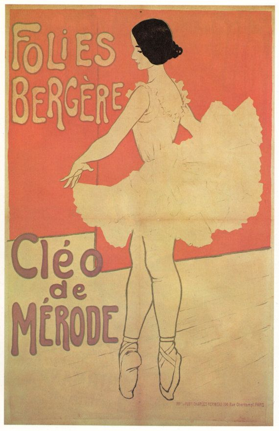 Folies-Bergere. Vintage French Poster. 9 x 14 Ballet Dancer. $10.00 from John Kline on Etsy!