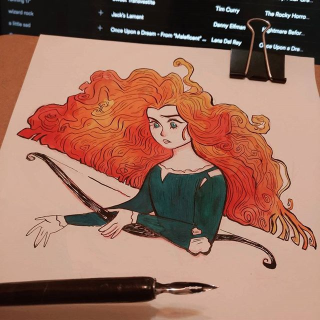"""when the cold wind is a'calling ; and the sky is clear and bright ; misty mountains sing and beckon ; lead me out into the light 💙  ughh this week is the one in which I have the worst """"details i want to do in a drawing/time i actually have"""" ratio 😵 still one day behind.  #inktober #merida #disneyprincess #inktoberbrasil  ahhh essa semana é a que eu tenho a pior razão """"detalhes q eu quero por no desenho/tempo que eu efetivamente tenho pra fazer isso"""""""