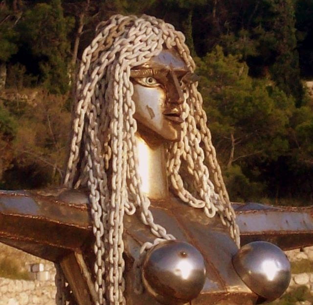 Close up of Mermaid sculpture by Natalia Mela on Spetses, Greece.