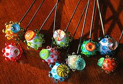 Headpin Beads on 19g dark annealed steel wire by GlassAddictions, via Flickr