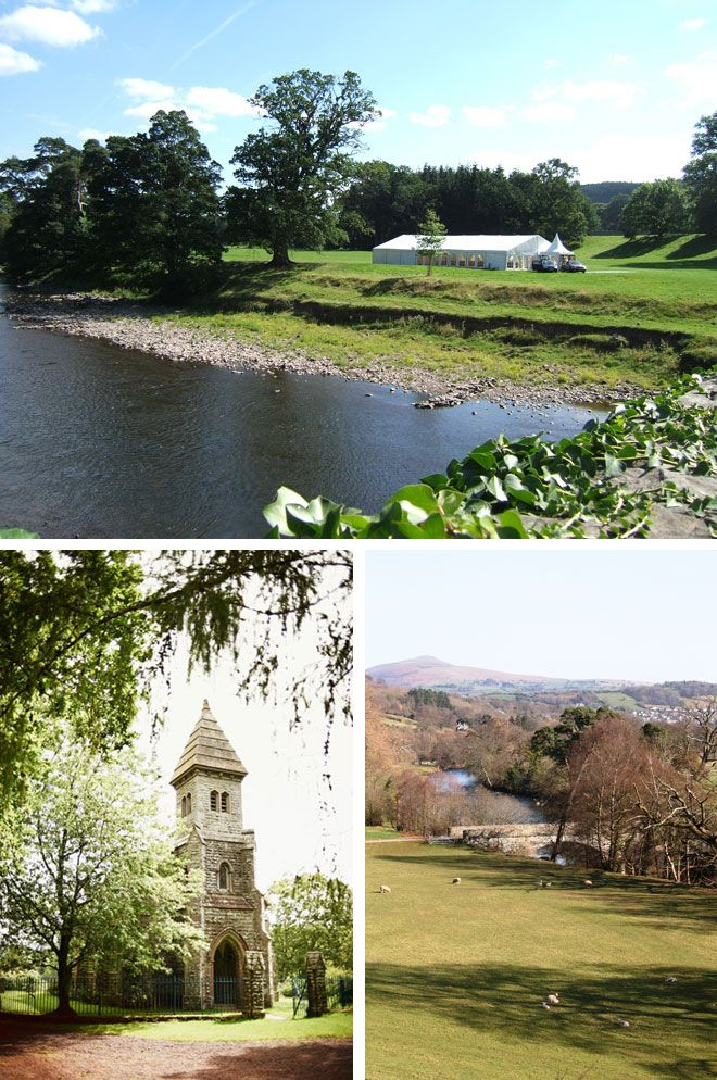 Parkland and church at Glanusk Estate, marquee wedding venue in Wales | Visit wedding-venues.co.uk