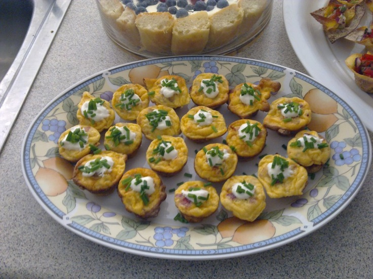 bacon, onion & cheese frittatas with sour cream & chives