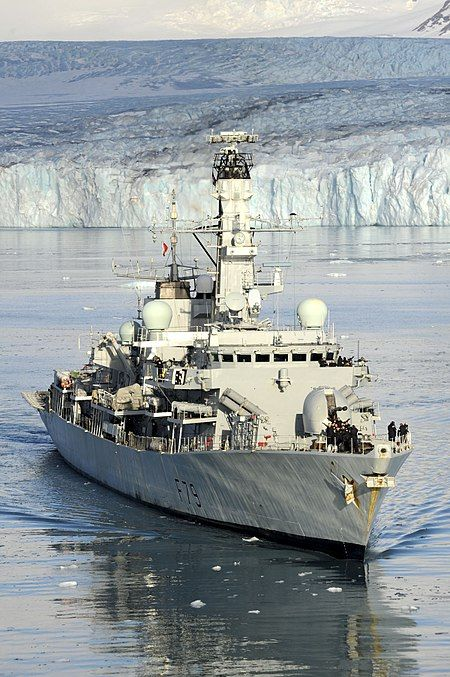 """Royal Navy - """"HMS PORTLAND"""" (F79) is a (436.4') Type 23 Frigate – Commissioned: 3 May 2001 – Crew: 185 Officers, Enlisted (with Accommodation for up to 205) Armament: 1 x 32 Cell VLS Canisters for up to 32 Sea Wolf Missiles, 8 x Harpoon Missiles (2 Quad Launchers) 4 x 12.75 Inch (324mm) Torpedo Tubes, 1 x 4.5 Inch (114.3mm) Gun, 2 x 30mm Mk.44 Bushmaster II Cannons, 2 x .303 cal (7.62mm) Miniguns – Aircraft: 1 x Westland Lynx HMA8 or 1 x AgustaWestland Merlin HM1 - Still Active"""