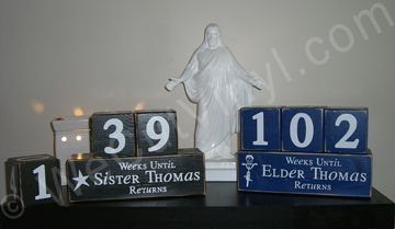 Missionary Countdown Blocks... this is so cute! i want to make this for my mission for my mom and dad! we should make one for chad too! @Brittney Allgood