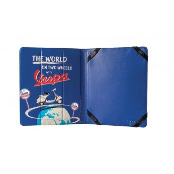 Practical cover for iPad in Pu leather decorated with design of Vespa comunication. Color of design is blue and cover is red.