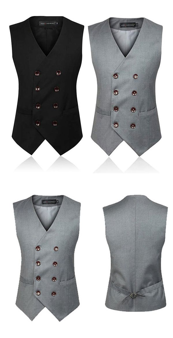 Business Formal Double Breasted Suit Vest / British Style Waistcoats for Men