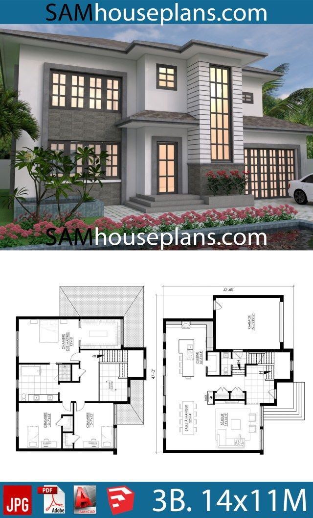 House Plans 14x11 With 3 Bedrooms Sam House Plans House Plans Contemporary House Plans Four Bedroom House Plans