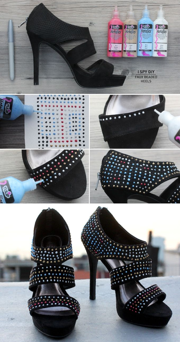 DIY Projects - FAUX BEADED HEELS & CONTEST...Great idea for that 'perfect' pair of wedding shoe to match your wedding theme.