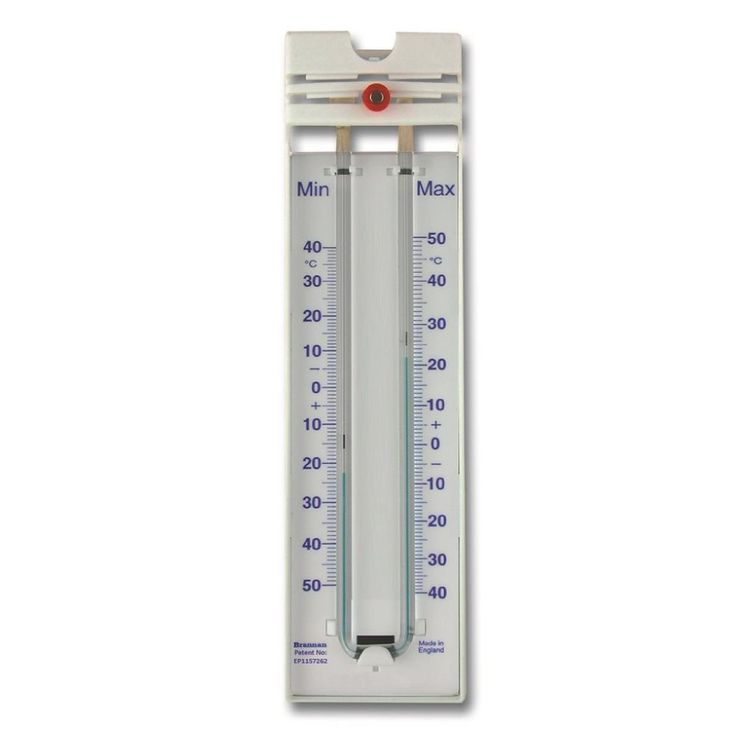 The Magnet Reset Max Min Thermometer has a modern design with a blue temperature scale in moulded white plastic. These products use a patented blue coloured liquid to replace the mercury but retain the ease of operation of the mercury instruments.