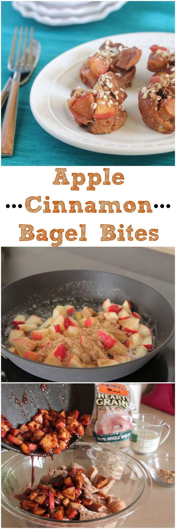 Apple Cinnamon Bagel Bites #breakfast #snack #recipe