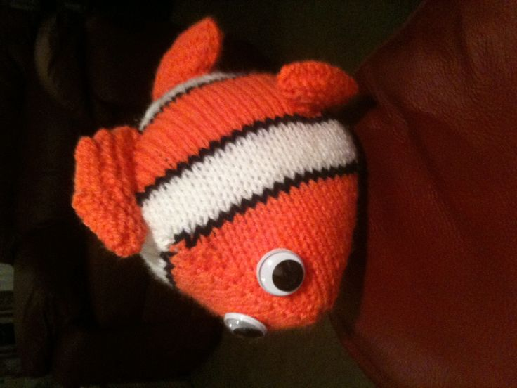 This is my hand knitted Nemo which I made at the request of my grandson