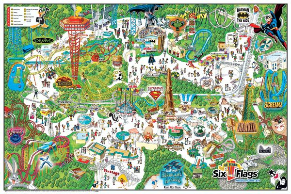 Six Flags Magic Mountain Theme Park Map