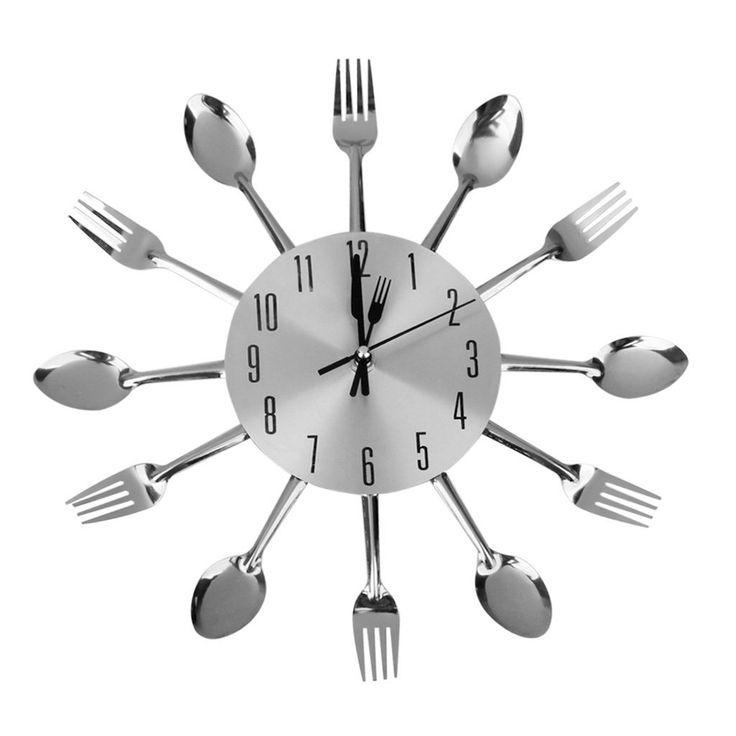 Free Shipping Creative Spoon Fork Wall Clock for Kitchen Dining Room Decoration casa de sala mirror Stickers clock(Silver)
