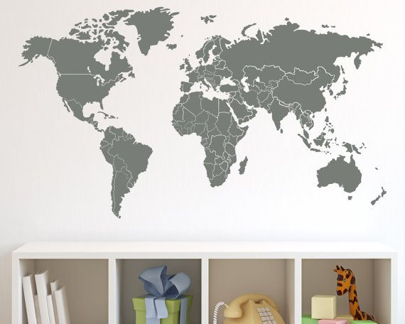 World Map with Countries Borders Wall Decal by Zapoart on Etsy, $34.00