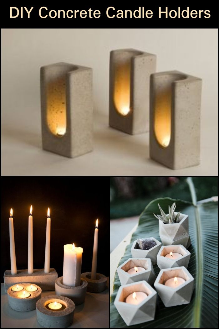 A handmade raw concrete candle holder with a vibrant yellow accent.