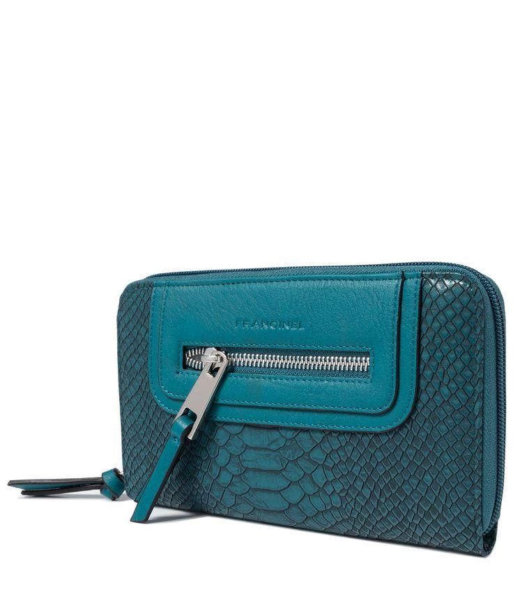 Зеленый кожаный женский кошелек с тиснением на молнии