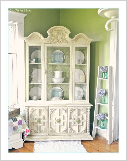 Ornate White China Cabinet