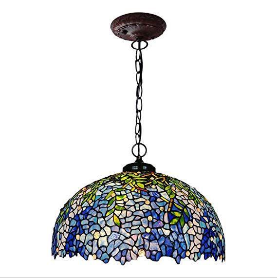 Gaoliqin Tiffany Style Pendant Lamp 20 Inch Wisteria Design Glass