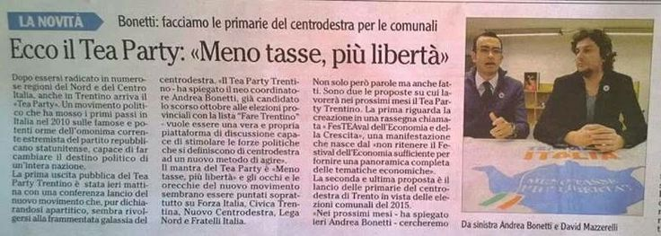 """""""Ecco il Tea Party: Meno tasse, più Libertà) - (L'Adige - 12 gennaio 2014)"""