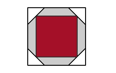 Cuadrado en un cuadrado. Un octógono regular se inscribe en el interior de un cuadrado. Otro cuadrado se inscribe en el interior del octógono.  Cuál es la relación de áreas entre los 2 cuadrados?