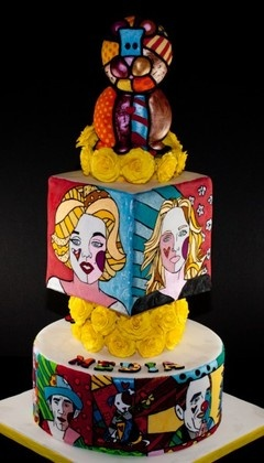 Romero Britto cake for the Holland Sugar Art Show. Theme was Circus, but I gave it a twist to Media circus.