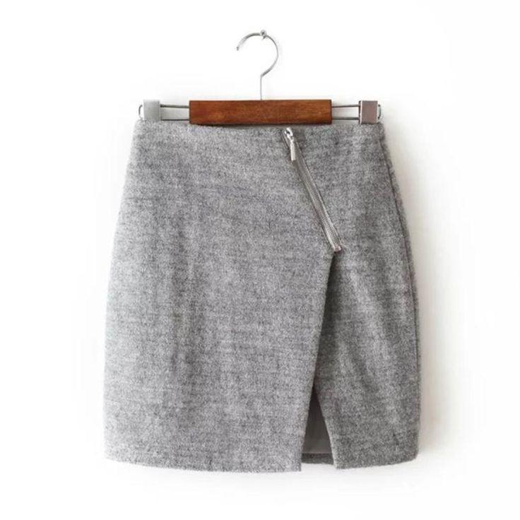 Женская неравномерность раскол чистый цвет высокая талия твидовые юбка зима свободного покроя молнии женщины мини юбки с # J892 купить на AliExpress