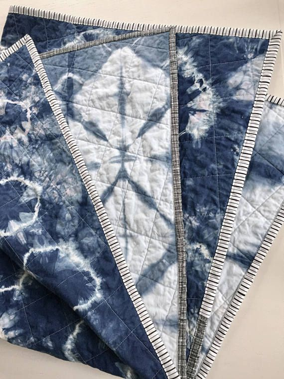 Modern Whole Cloth Quilt Indigo Shibori