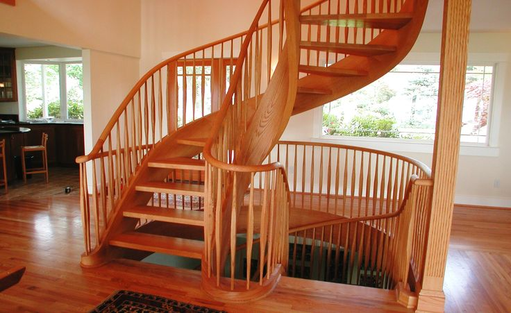 Best Graceful Red Oak Two Story Tight Spiral Stair Staircase 400 x 300