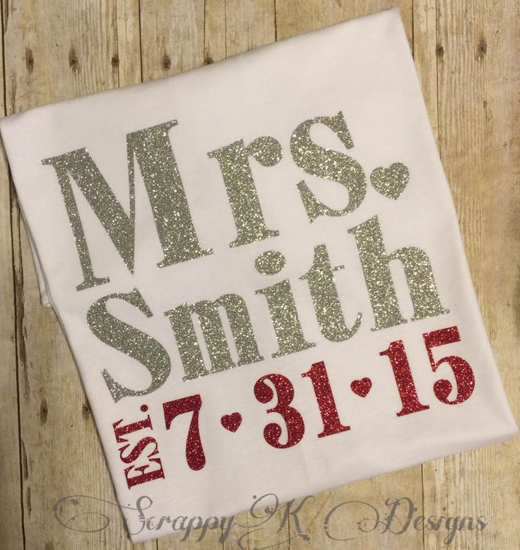 Mrs Tshirt Mrs Tee Glitter Mrs Tshirt Bride Tshirt New Bride Tee Bride Shirt Bridal Gift Wedding Gift Bachelorette Party Gift (25.00 USD) by ScrappyKDesigns