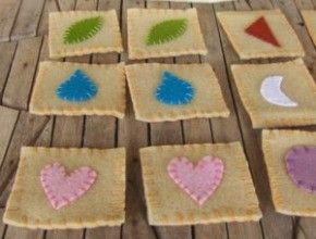 Easy memory game sewing project for kids to make.  Use wool felt for nice quality.