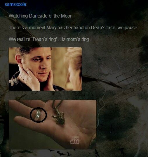 "Dean's Ring ||| Mary and Dean Winchester ||| Supernatural 5x16 ""Dark Side of the Moon"""