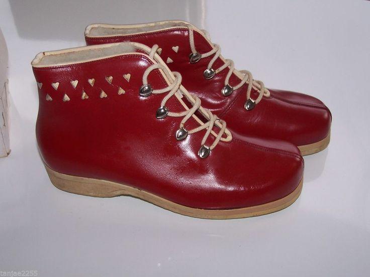 40er 50er Jahre   Schuhe Stiefeletten Stiefel Vintage Leder Lammfell  216