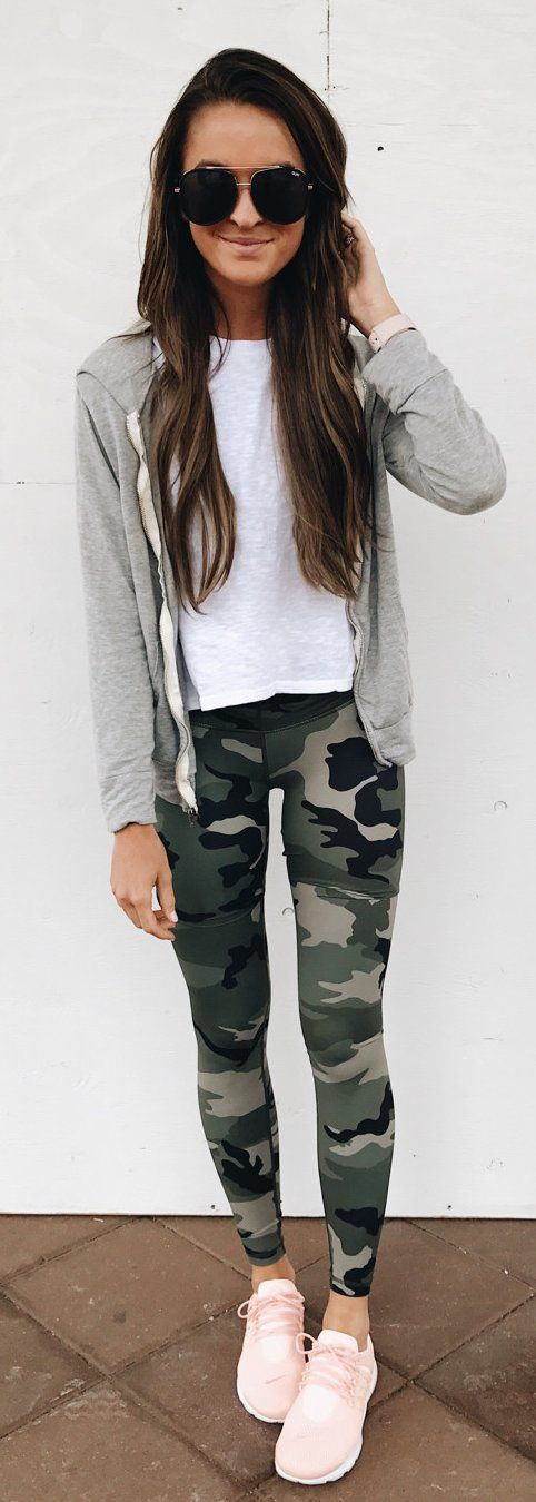 #summer #outfits  One Of Those 'stay In Workout Clothes And Get Stuff Done' Type Of Mondays . Plus, Camo And Pink Are Always A Good Idea!  // Grey Vest + White Tee + Army Print Leggings + Pink Pumps