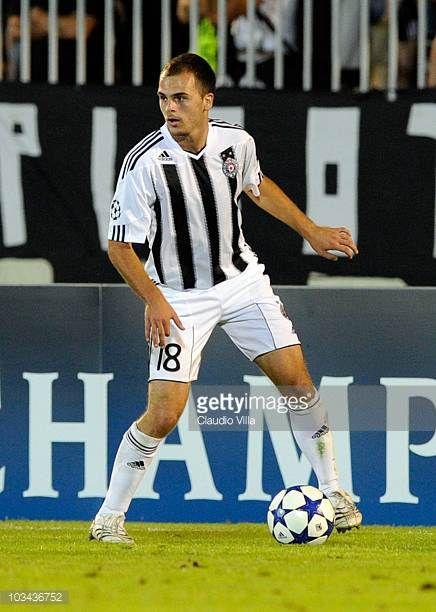 Aleksandar Lazevski of FK Partizan during the Champions League Playoff match between Partizan and Anderlecht at Partizan Stadium on August 18 2010 in...