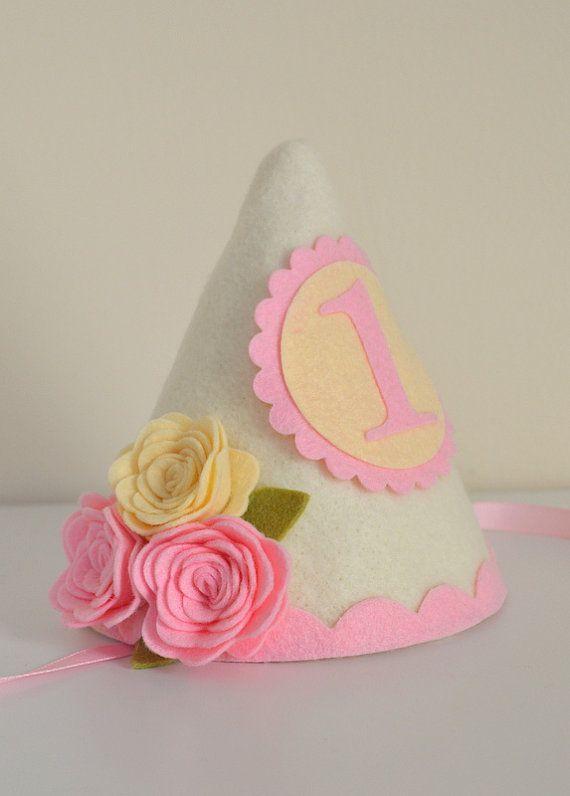 Shabby Chic Felt Birthday Hat, First Birthday Hat, Girl Birthday, Roses, Personalized, Romantic