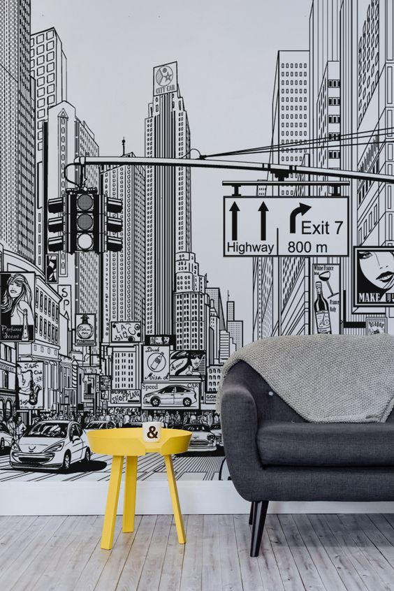 Feel like you're living in a comic strip with these amazing New York city wallpaper mural. Taking you right in the middle of an illustrated New York city scene, this unique black and white mural will take centre stage of any home. It's ideal for modern living room spaces or creative home offices looking for some inspired imagery.: