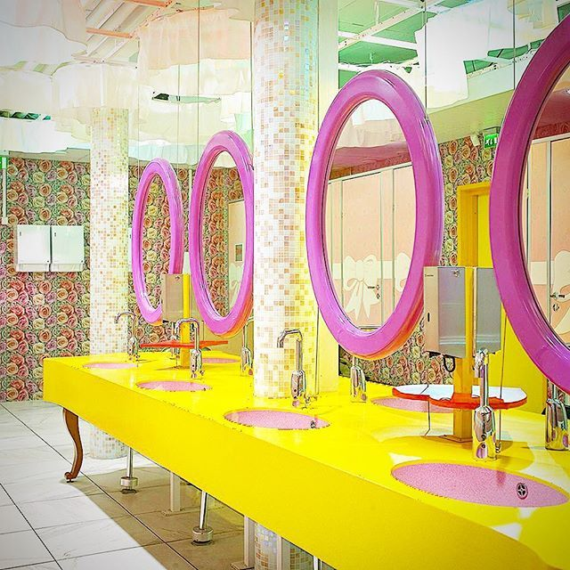 Yellow and pink Durat® in the Linnanmäki Amusement Park in Helsinki, Finland  #Durat #Design #DuratSpotted #Toilet #Linnanmäki #FunFair #AmusementPark #DuratInteriors #InteriorDesign #RecycledToLast #Interiors  #Inspiration #Colourful #Modern #Interior  #DuratDesign #Sustainable #Manufacturing #DesignBlog #ScandinavianDesign #MadeInFinland  #BathroomDesign #Bathroom #Tap #Washbasin #Sink #SuomalaistaDesignia #Scandi #Style