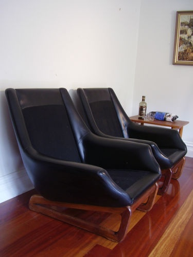Danish deluxe sled base armchairs