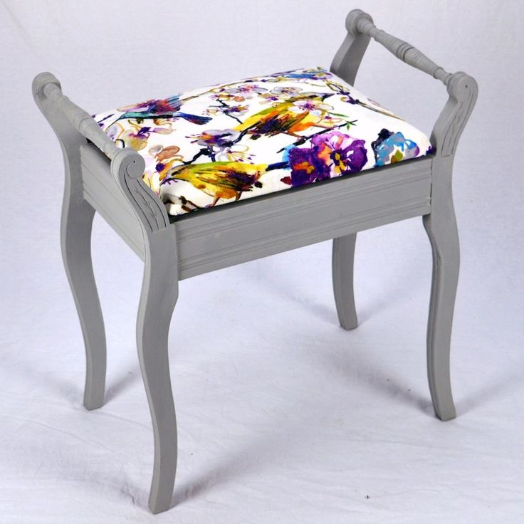 Painted and Re-upholstered Vintage Dressing Table or Piano Stool in Vintage Grey