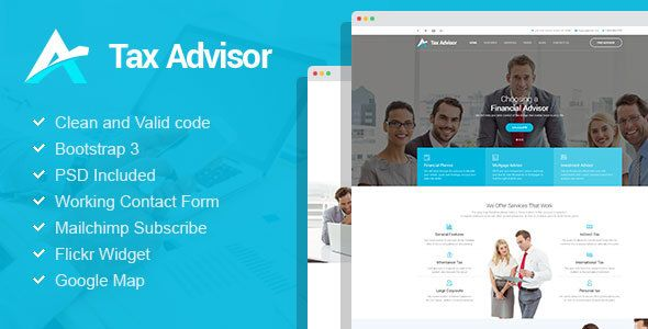 Tax Advisor is a modern and clean business HTML template for financial institutions and law firms. If you are planning to create highly usable website with classic design for financial advisor, insurance, mortgage or attorney we highly recommend to use this template. It's design in calm and clean colors, with great typography and though through layout.