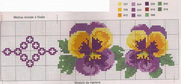 punto croce schemi fiori - Cerca con Google