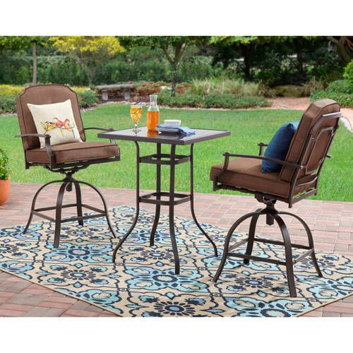 Counter Height 3 Piece Patio Garden Bistro Sets Furniture Table