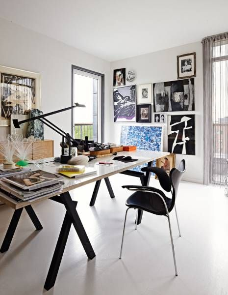 Handsome studio space. Love that desk.