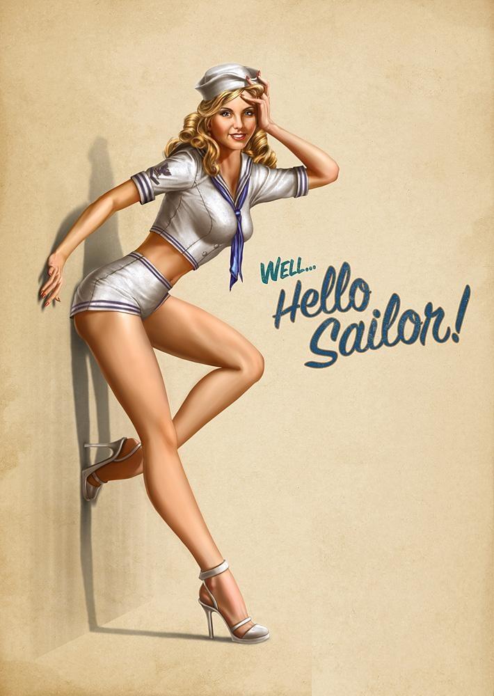 Retro Pin Up Navy Theme Military Art Pinterest Pin Up Girls