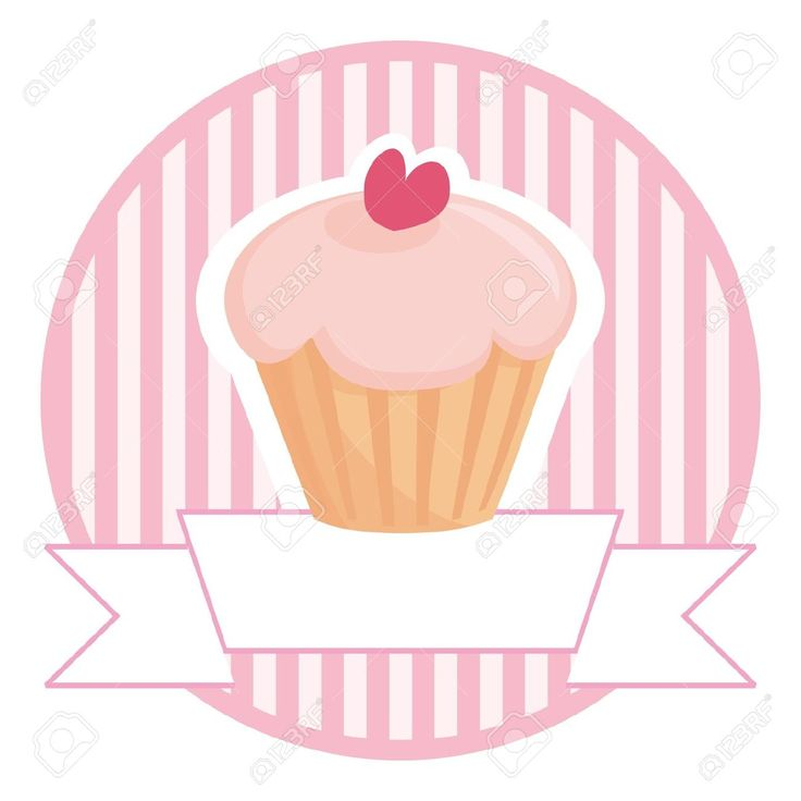Retro Bakery Logo: 14315667-sweet- Retro -cupcake-on-pink-vintage-strips