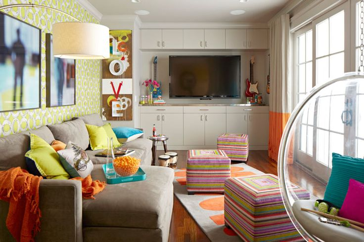 cool kids' space, hanging bubble chair, bright colors,  ScavulloDesign Interiors