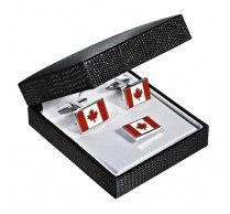 Canadian Flag Cufflink/Pin. These Canadian flag cufflinks represents the national flag and can be rejoiced by every proud Canadian. Size: 19X13mm. http://www.stunningselection.com/canadian-flag-cufflink-pin.