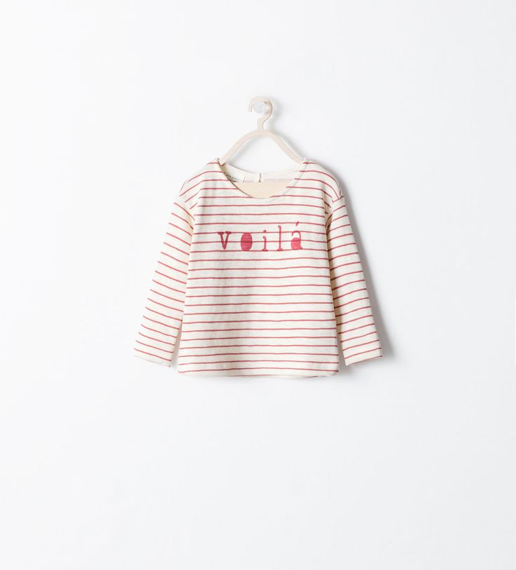 Image 1 of STRIPED T-SHIRT WITH TEXT from Zara